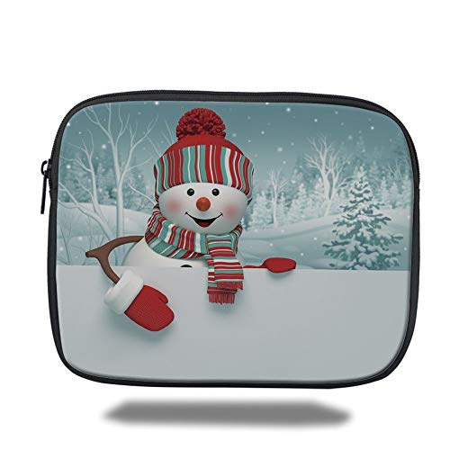 Tablet Bag for Ipad air 2/3/4/mini 9.7 inch,Snowman,Smiling 3D Style Mascot with Hat and Scarf Snowy Mountains Trees Seasonal Happy Decorative,Multicolor,3D Print - Zwei Pocket Case Top-loading