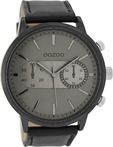 Oozoo Herrenuhr mit Lederband 49 MM Black/Grau/Schwarz C9058