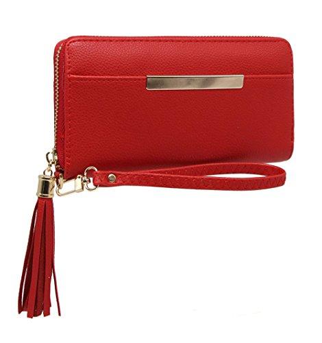 CRAZYCHIC - Portafoglio donna moda con Tasca frontale e piastra oro Rosso