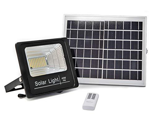 Luz Solar LED Exterior Con Mando a Distancia 40W, Foco Solar con...