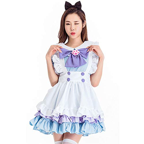 Kostüm Renaissance Mädchen Maid - PAOFU-Frau Halloween Kostüm Blau Alice Wunderland Adult Maid Kostüm Lolita Kleid,Blau,OneSize