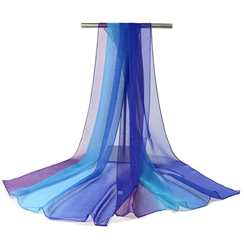 GWELL Damenschal Farbverlauf Georgette Sommer Schals Tücher Damen Strandtuch Halstuch blau violett