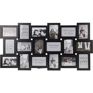 AiO-S - OK Bilderrahmen Collage für 18 Fotos im Format 10 x 15 cm Fotorahmen schwarz