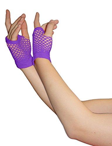 Erwachsene kurze und lange Fingerlose Fisnet Handschuhe Raves Parties 1980s Fancy Dress - Pick & Mix (Lila - klein)