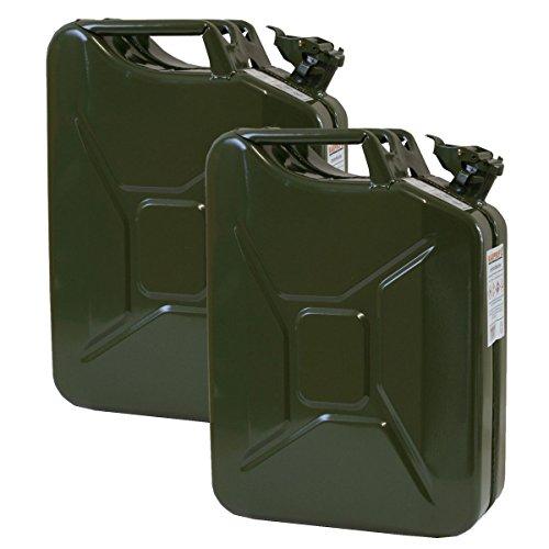 2er Set 20 Liter Benzinkanister Metall GGVS mit Sicherungsstift oliv/grün Armee