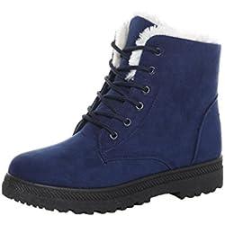Minetom Donna Autunno Inverno Lace Up Pelliccia Neve Stivali Snow Boots Stivali Cavaliere Sneaker Moda Blu EU 41