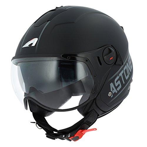 Astone Helmets minisportg-bgrm casco Moto Minijet Sport Cooper, Negro/Gris, talla M