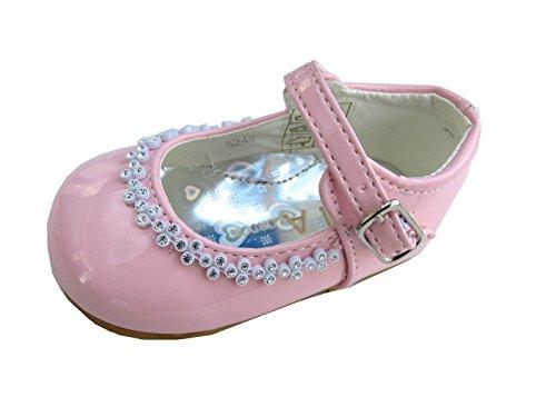 Filles Chaussures De Soirée Mariage Baptême Demoiselle D'honneur Buckle Bébés 1,2,3,4,5,6,7,8 Rose
