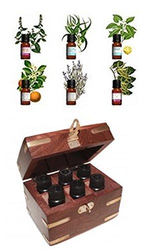 huiles essentielles avec coffret : Les indispensables : Menthe poivrée, Eucalyptus Globulus, Citron (Zeste), Ylang-Ylang, Lavandin Grosso, Orange douce.