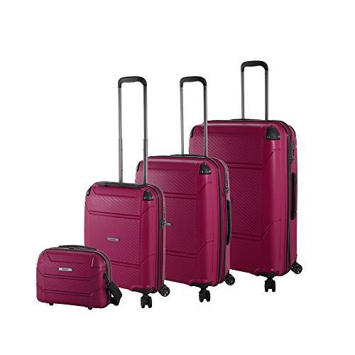 Rada Koffer Set Hartschale 4 Rollen (4-TEILIG) aus robustem Polypropylen, Reise Trolley inkl. Kosmetikkoffer Damen und Herren (Berry)