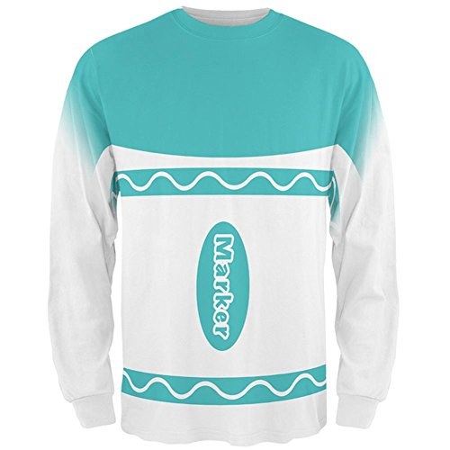 Marker Halloween Kostüm Aqua Blau Allover-Mens Long Sleeve T-Shirt (Kostüm Aqua Man)