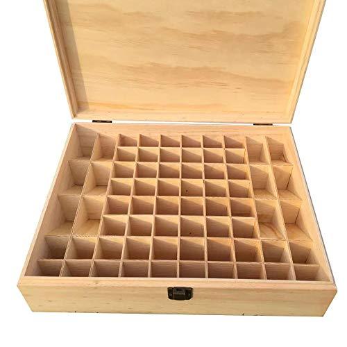 windyday Aufbewahrungsbox für ätherische Öle Holz Aufbewahrungsbox für Ätherische Öle Holzbox mit 68 Fächer Holzkoffer für 5 ml/10 ml/15 ml-Flaschen