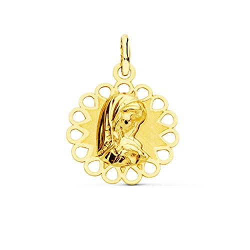 Medalla Oro 9K Virgen Niña 18mm. Bordes Círculos Calados - Personalizable - Grabación Incluida En El Precio