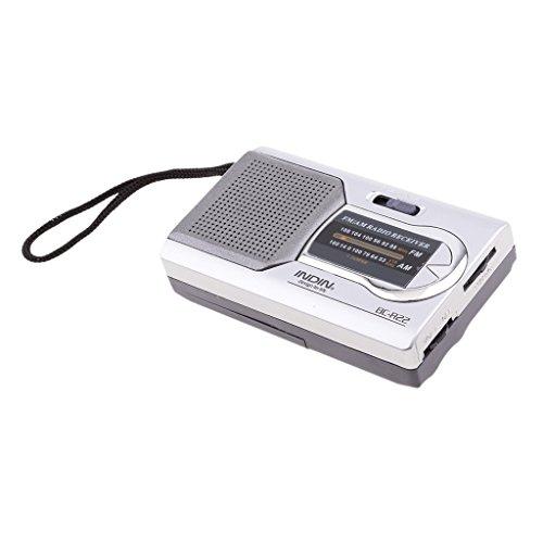 Baoblaze BC-R22 Mini AM/FM Pocket Radio, Batteriebetrieben, Mit Lautsprecher Und Kopfhörerbuchse (Silber) (Fm Radio Pocket Am Lautsprecher Mit)