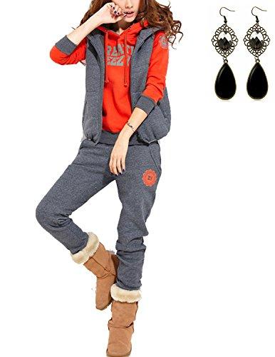 Sitengle Donna 3 Pezzi Tute da Ginnastica Basic Suit Tuta Più Velluto Felpa con cappuccio Jogging Sweatshirt Hoodie Giacche + Gilet + Pantaloni