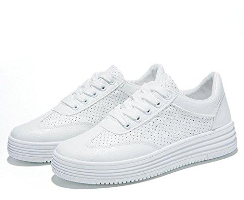 SHFANG Dame Schuhe Freizeit Dick Unterseite Erhöhte Stanzen Leder Kleine weiße Schuhe Studenten Bewegung Sommer Zwei Farben White