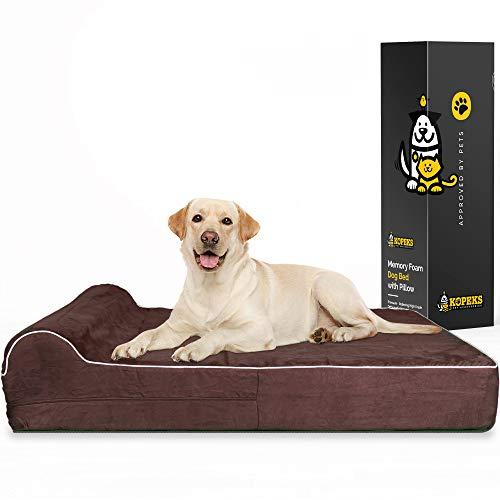 KOPEKS Cama Extra Grande para Perros Mascotas con Memoria Viscoelástica Ortopédico 127 x 85 x 18 cm más la almohada - XL - Marrón