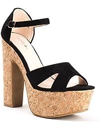 Ideal Shoes Sandali compensate effetto camoscio Tessie, Rosso (rosso), 39