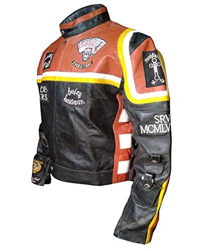 paramount-fashion Mickey Rourke Giacca Moto in Vera Pelle Uomo in Colore Arancione- XXS