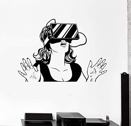 Wandaufkleber 60X42Cm Virtual Reality Headset Frau Teen Mädchen Schlafzimmer Home Decor Vinyl Wandtattoos