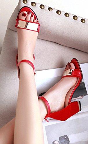 Aisun Femme Sexy Talon Bloc Bout Ouvert Sandales Avec Boucle Rouge