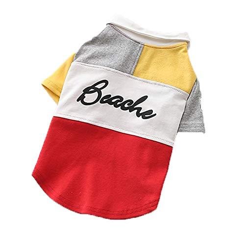 Tuxedo Shirt Red Kostüm - XGPT Hundebekleidung Haustier Kostüm Spring hübsches Polo-Shirt Walking Mode Hund Zwei Füße Kleidung,Red,M