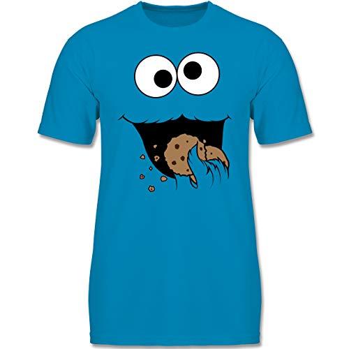 Karneval & Fasching Kinder - Keks-Monster - 110-116 (5-6 Jahre) - Azurblau - F140K - Jungen T-Shirt