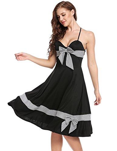 cooshional Robe Femmes Vintage Sexy Robe Col V Sans manche Robe Arc A-Line Bas plissé Elastique Ajustable Robe à bretelle fine Noir