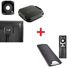 Neu InventCase® SCHWARZ (BLACK) Apple TV-Halterung / Klammer / TV-Wandhalterung und TV-Fernbedienung (Remote Control) Schutzlederbezug / Brieftasche / Hülle / Slip-Tasche für Apple TV / Fernseher MD199LL/A MC572LL/A