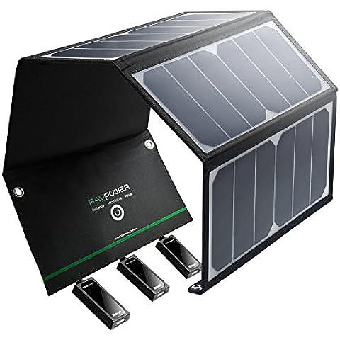 RAVPower 24W Cargador Panel Solar Batería Placa Plegable con Triple Puertos iSmart USB para Móviles, Tablets y Otros Dispositivos Digitales (con la eficiencia de conversión de Smart Chip IC, ligero, a prueba de agua, en acero inoxidable, con agujeros y ganchos, 2 Cables