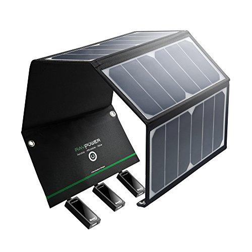 RAVPower 24W Chargeur Panneau Solaire 3 Ports USB + 4 Œillets et Crochets en Acier-Inox et 2 Câbles Micro-USB Portable Pliable Puissant Imperméable pour iPhone, Androids etc.