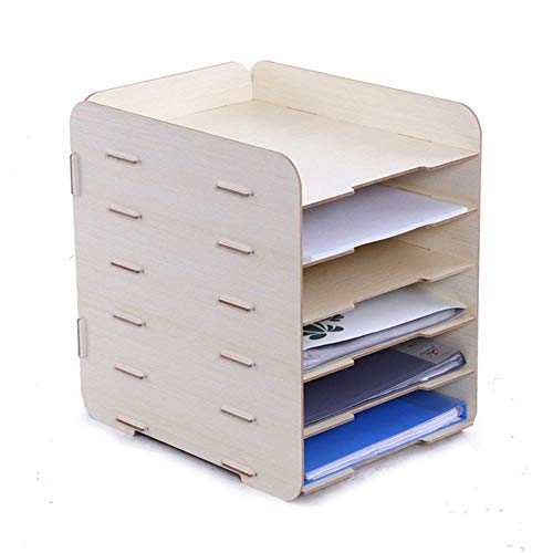 oak-pine 6Etagen abnehmbarer Holz-Maserung Design Schreibtisch A4Datei Buchstabe, Desktop Cabinet Box Case Büro Organizer Rack Regal weiß -