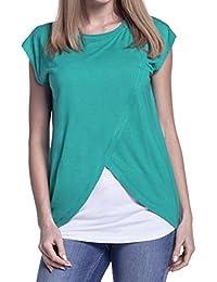 Cinnamou Blusas para Mujeres Embarazadas,Patchwork Camisa de Manga Corta Para Mujer Casual Camiseta Mujer Ropa de Mujer EN Oferta…