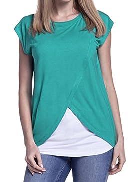 Cinnamou Blusas para Mujeres Embarazadas,Patchwork Camisa de Manga Corta Para Mujer Casual Camiseta Mujer Ropa...