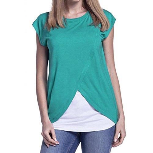 Cinnamou Blusas para Mujeres Embarazadas,Patchwork Camisa de Manga Corta para Mujer Casual Camiseta Mujer Ropa de Mujer EN Oferta Talla Grande Moda Tops Blusas de Capa Doble (Verde, M)