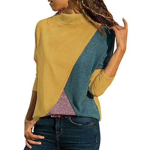 ea61a926f4 Blusa Moda Patchwork Casual para Mujer Color Block O-Neck Manga Larga  Camiseta Tops ❤
