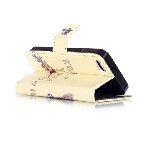 Custodia per Apple iPhone 6 Plus / 6S Plus, TOCASO Copertura di Ccuoio Cover in PU Dipinto Sintetica Ecopelle Pelle Guscio per iPhone 6 Plus / 6S Plus Protezione Caso Ultra Sottile shell protettivi Bu Sorridente Gatto