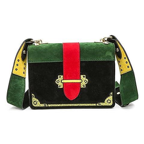 Suede PU Scrub Small Square Bag Personnalité Broderie Retro Handbags Wide Shoulder Strap Shoulder Messenger Bag,Black-OneSize