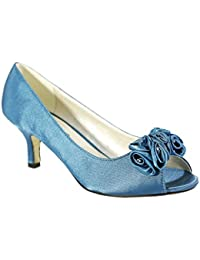 04900b10811 CORE COLLECTION Womens Ladies Low Satin Kitten Heel Shoes Bridal Wedding  Prom Party Flower Shoes