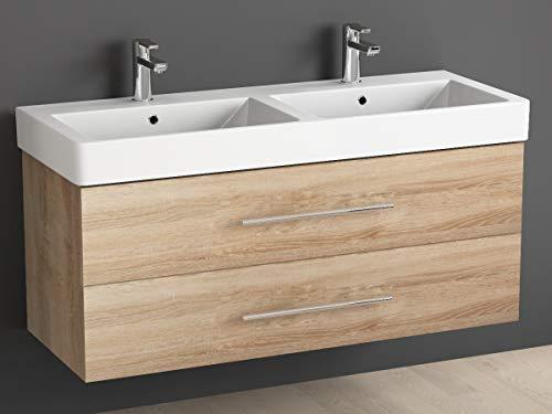 120 cm inkl. Keramik Doppelwaschtisch/Badezimmer Möbel mit Doppel-Waschbecken und Unterschrank - 2 hochwertige softclose Metallauszüge - Sonomo Eiche ()