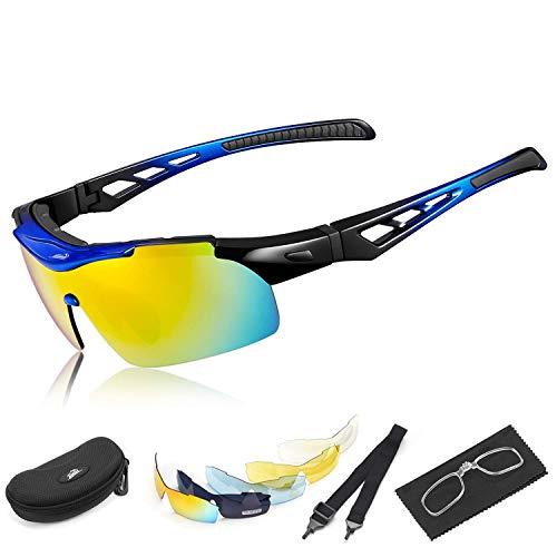 HiHiLL Fahrradbrille, Polarisierte Sport Sonnenbrille für Herren Damen, Sportbrille mit 5 Austauschbaren Linsen und Unzerbrechlichen Rahmen mit Gummimatten zum Radfahren, Klettern, Sports, Fahren