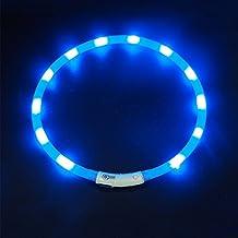 LED Collar para Perros, LaRooTM LED Collar de Seguridad para Perros Mascotas de LED de Nylon Luminous Que Brilla en la Noche con Un Recargable y Ajustable Tamaño Adecuado Brillante Collar para Todos los Perros, Gatos y Mascotas-(1 Pieza, Azul)