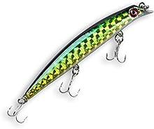 Cebos - SODIAL(R)Ojos 3D Crank cebos Minnow senuelo duro del pesca de 12cm / 15g 3 Triples 0.5-1.5m de buceo (verde)