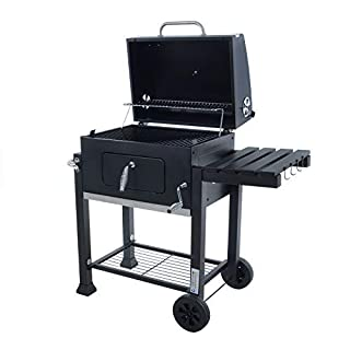 Azuma Rhino BBQ Charcoal Barbecue BBQ Grill Grey Steel Portable With Wheels, Hanging Hooks & Bottle Opener For Garden Patio Outdoor Summer Party Food Cooking Grilling For Family Friends At Summertime