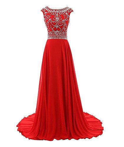 Bridal_Mall Damen Elegant Abendkleider Bodenlang Strass Beading Prom Ballkleider Rot