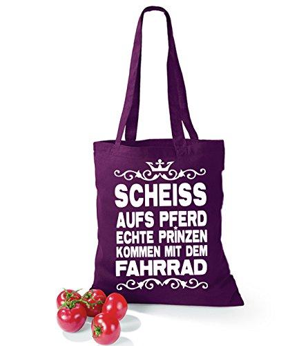 Artdiktat Baumwolltasche Scheiß auf´s Pferd - Echte Prinzen kommen mit dem Fahrrad yellow burgundy
