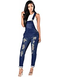Wolfleague Été Combinaison Femme Denim Grande Taille Bleu Salopettes pour Femmes Casual Trou DéChiré Un Pantalon Jeans pour Dames S ~ XXXL