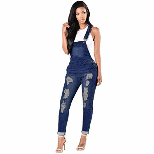 Wolfleague Été Combinaison Femme Denim Grande Taille Bleu Salopettes pour Femmes Casual Trou DéChiré Un Pantalon Jeans pour Dames S ~ XXXL Wolfleague