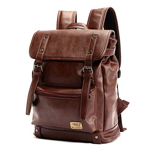 Männer große Kapazität Rucksack Teen Student Laptoptasche Reiserucksack Männer hohe Qualität Leder Vintage Daypack Brown (Indische Währung)