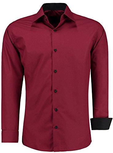 Herren-Hemd – Slim Fit – Bügelfrei / Bügelleicht – Für Business Freizeit Hochzeit – J'S FASHION - Bordeaux - K - L